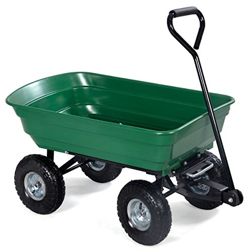 650lb Garden Dump Cart Dumper Wagon Carrier Wheel Barrow Air Tires Heavy Duty (Heavy Duty Garden Trailer)
