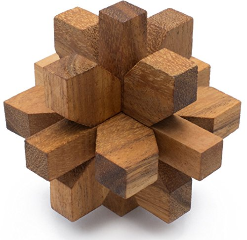 Dahlia: Handmade & Organic Wooden Star Puzzle for Adults from SiamMandalay with SM Gift Box(Pictured) -