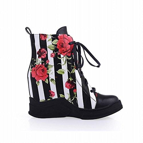 Carolbar Womens Fashion Blommönster Vertikal Rand Snörning Kil Dold Häl Korta Stövlar Svart
