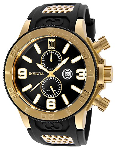 Invicta 25187 Men's Jason Taylor Black Dial Yellow Gold Steel Polyurethane Strap Dive Watch -