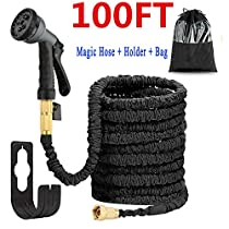 Liwiner 100 FT Expandable Garden Water Hose Pipe/Magic Expanding Flexible Hose with Brass Fittings Valve 8 Function Spray Gun Nozzle WallHolder/Storage Bag … (Black)