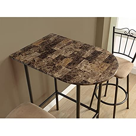 Modern Bar Table 24x36 Inch For Kitchen And Dining Room Cappuccino Marble And Metal For Drinking Coffee Tea Eating Breakfast Food Meals Contemporary Urban Spacesaver Adjustable Height BONUS E Book
