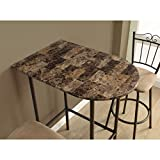 Modern Bar Table 24x36-inch for Kitchen and Dining Room Cappuccino Marble and Metal for Drinking Coffee Tea Eating Breakfast Food Meals Contemporary Urban Spacesaver Adjustable Height, BONUS e-book