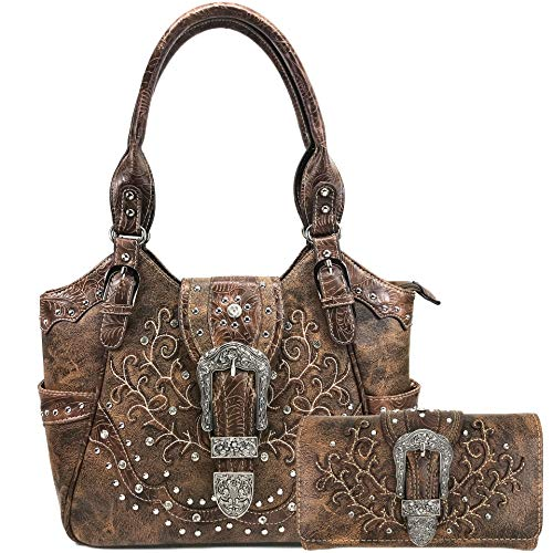 Justin West American Albino Floral Embroidery Buckle Shoulder Concealed Carry Handbag Purse (Chocolate Purse and Wallet Set)