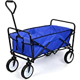 HOMFA Garden Cart Trolley Foldable Pull Wagon Folding Trolley Camping Trolley on wheels Heavy Duty Wagon Hand Cart Festival Trolley Outdoor 80Kg (Blue)
