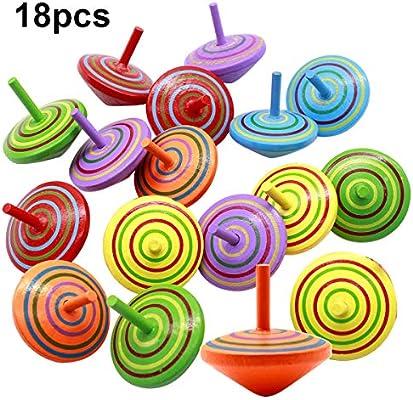 Natuce 18 PCS Peonza trompo, Juguetes para niños, Juego de peonzas, Peonzas de Madera de Colores, Creativo Juguete, Regalos para Comuniones, Niños, ...