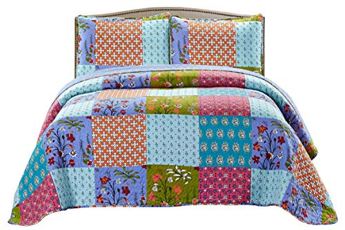SLPR All is Bright 3-Piece Lightweight Printed Quilt Set (Queen) | with 2 Shams Pre-Washed All-Season Machine Washable Bedspread Coverlet ()