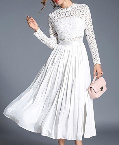 Reine Hohl girl Plissee Weiß Partykleid Spitze E Kleid Langarm Cocktailkleid Kleider Midi YL40618 Damen FtnqwHZ
