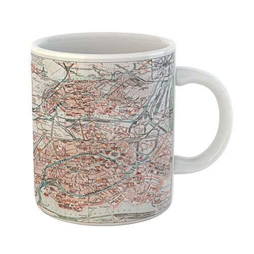 Emvency Coffee Tea Mug Gift 11 Ounces Funny Ceramic Vintage Map of Strasbourg at the End 19Th Century From Meyers Lexicon Books Gifts For Family Friends Coworkers Boss Mug