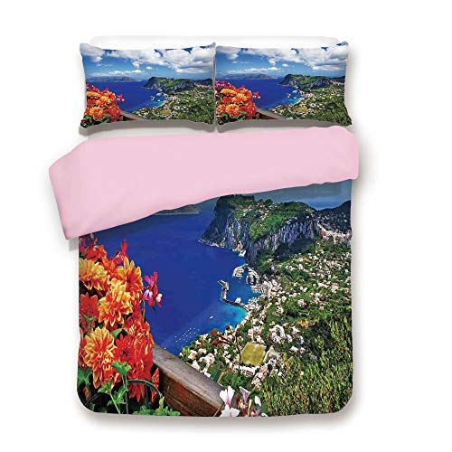 Pink Duvet Cover Set,FULL Size,Scenic Capri Island Italy Mountain Houses Flowers View from Balcony Landmark,Decorative 3 Piece Bedding Set with 2 Pillow Sham,Best Gift For Girls Women,Blue Green Orang