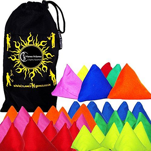 5x Tri-It Jonglierbälle 5er set (Mischung) Flames N Games ® Pyramid Säcke, Sitzsäcke für Kinder & Erwachsene + Stoff Reisetasche!