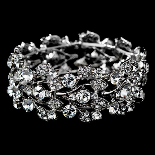 ACCESSORIESFOREVER Bridal Jewelry Crystal Rhinestone Floral Leaf Vine Stretch Bracelet Silver Clear by Accessoriesforever (Image #2)