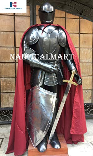 NAUTICALMART Medieval Black Knight Suit of Armor with Shield, Sword, Cloak LARP