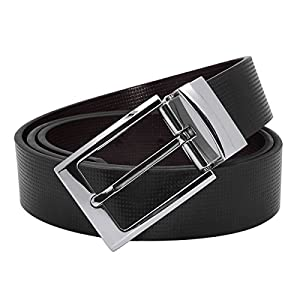 "Men's Dress Belt Leather Reversible Belt with 1.3"" Wide Single Prong Rotated Buckle Gift Box"