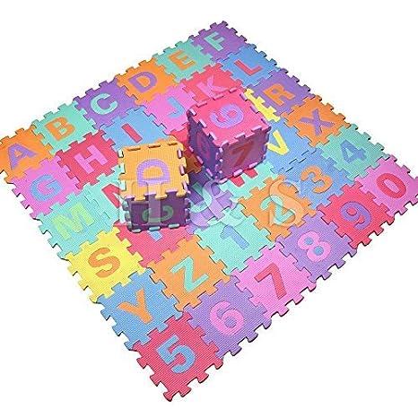 Gadgetking 36pcs suaves de espuma EVA niños del bebé Kids Play Mat Alfabeto número de puzzle rompecabezas de actividad suave espuma acolchados -Cartas y ...