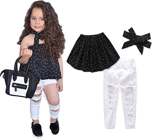 - Baby Girls Off Shoulder Polka Dot Tops Shirt+Ripped Hole Denim Pants Outfit Set Size 3-4Years/110cm (Black)