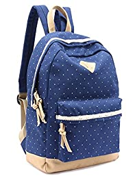 Leaper Casual Style Lightweight Canvas Laptop Backpack Cute Travel School College Shoulder Bag/Bookbags/Daypack for Teenage Girls/Students/Women (Dark Blue)