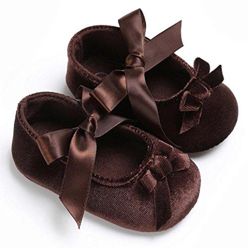 Igemy 1Paar Baby Kleinkind Mädchen Krippe Prinzessin Flower Soft Prewalker Sole Anti-Rutsch Schuhe Braun