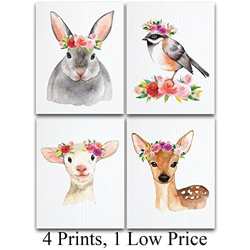 Watercolor Country Animals Nursery Art Prints - Set of Four Photos (11x14) Unframed - Great Gift for Nursery Decor