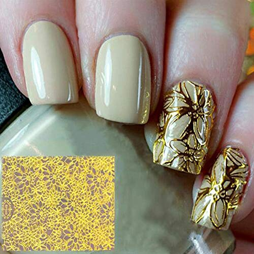 (Baost 1 Sheet 3D Embossing Nail Art Stickers Blooming Flower Hollow Nail Tip Decal DIY Fingernail Metal Nail Stencil Sticker Reusable Manicure Stickers Stamping Template)