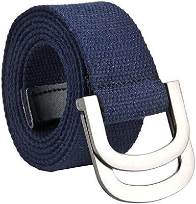 Canvas Web Belt Double D-ring Buckle Military Style Plain Belts for Men Y