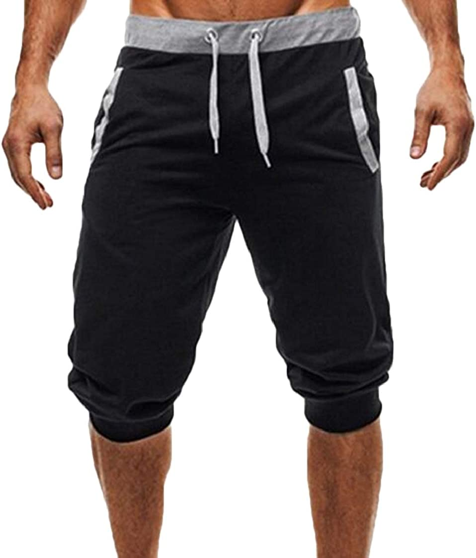 SELX Men Drawstring Color Block Casual Joggers Running Sport Shorts Sweatpants