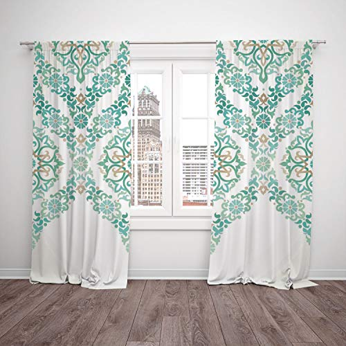 2 Panel Set Satin Window Drapes Kitchen Curtains,Traditional House Decor Retro Middle Age Symmetrical Gothic Garland Forms in Pastel Print Green Blue,for Bedroom Living Room Dorm Kitchen Cafe
