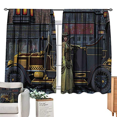 Warm Family Victorian Blackout Curtains Lady Wearing Old Style Dress and Vintage Car in Street Mechanic Industrial Era Print Darkening and Thermal Insulating 63