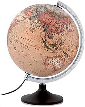 atmosphere - Globo terráqueo, Esfera de plástico, iluminada, en Castellano, 30 cm, Color Sepia (Mapiberia Solid A)