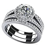 925 Sterling Silver Women Engagement Wedding Band Ring Cubic Zirconia Four Layers Size 9