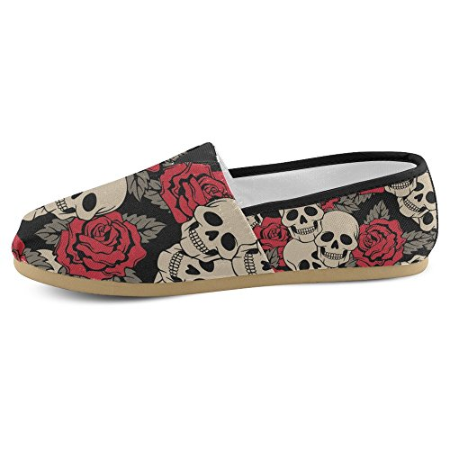 InterestPrint Womens Loafers Classic Casual Canvas Slip On Fashion Shoes Sneakers Flats Rose Skull Ep941E