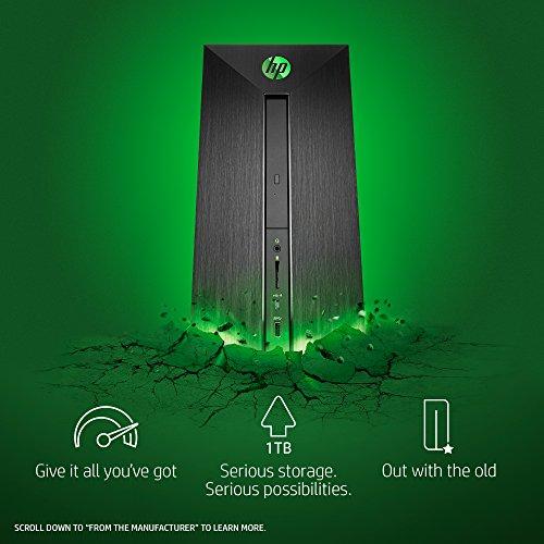 HP Pavilion Power Desktop Computer, AMD Ryzen 5 1400, NVIDIA GeForce GTX 1060, 16GB RAM, 1TB hard drive, 128GB SSD, Windows 10 (580-148, Black) by HP (Image #1)