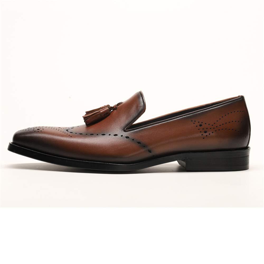 Qiusa Herren Slip auf auf auf echtem Leder Schuhe voller Brogues weiche Sohle atmungsaktive Schuhe (Farbe   Braun, Größe   EU 42) 4fb91d