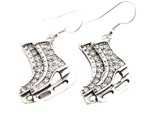 Ice Skates Silver Plated Clear Crystal Earrings Jewelry Figure Skating Hockey -