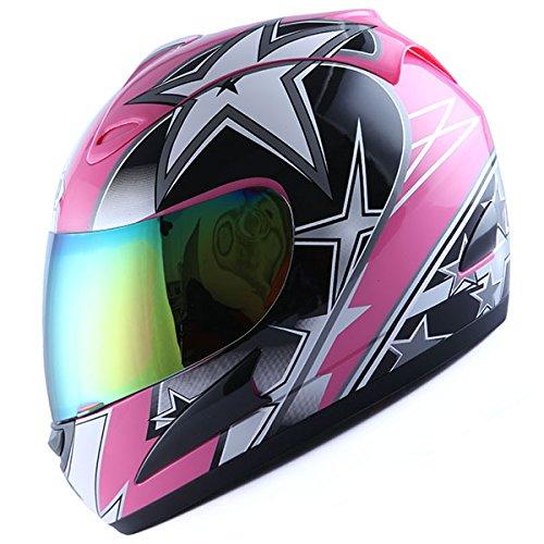 Face Helmet Street Bike Racing Star Pink ()