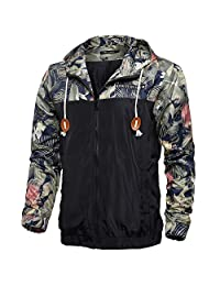 Allonly Men's Long Sleeve Floral Printed Hooded Windbreaker Jacket Sports Coat