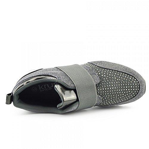 Mujer Casual Zapatillas De Deporte Entrenadores Glitter Brillante Bombas De Encaje Hasta Zapatos gris