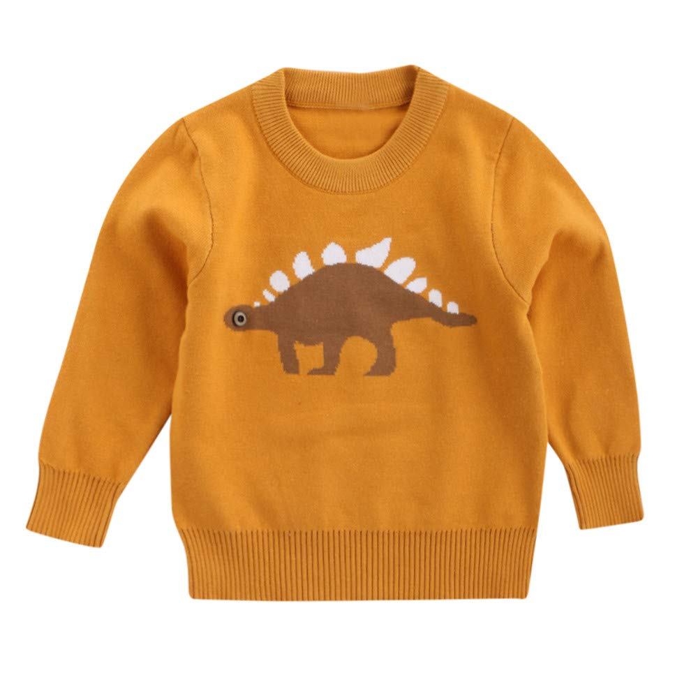 AMSKY Wash Clothes Baby,Boys Girls Baby Kids Dinosaur Sweaters Soft Warm Children's Sweater Coats,Yellow,90