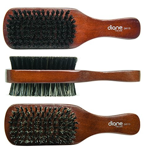 Diane 100% Boar 2-Sided Club Brush, Medium and Firm Bristles, (Firm Brush)