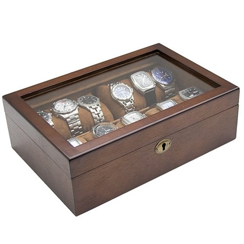 Caddy Bay Collection Vintage Wood Glass Clear Top Watch Display Storage Case Chest Holds 10 ...