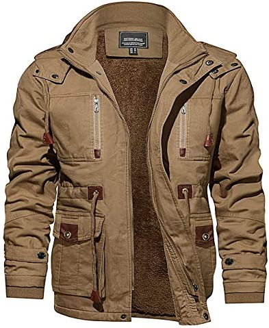 CRYSULLY Men's Jacket-Winter Thicken Field Fleece Cargo Coat With Removable Hood
