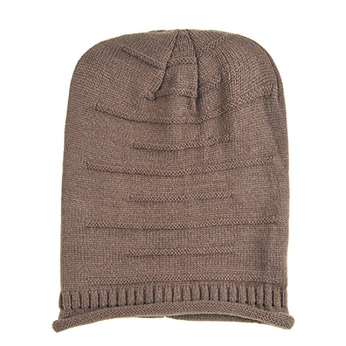 Slouchy Knit Beanie, KeepSa 2017 Brandnew Womens Beanie Moda Mujer sombreros, gorros de invierno suave caliente Gorro de punto marrón