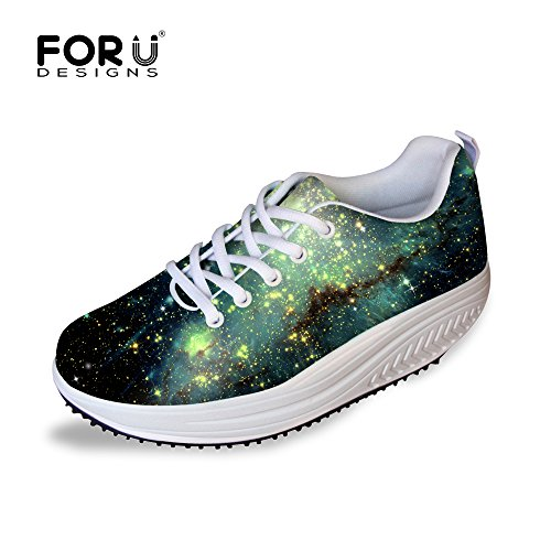 FOR U DESIGNS Green Star Light Style Women's Comfortable Mesh Sneaker US 7