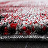Teppich-Modern-Designer-Teppich-Leinwand-Optik-Meliert-Schattiert-Grau-Rot-Creme