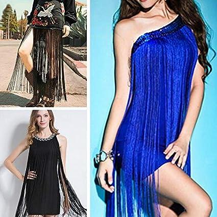 FidgetKute New Chainette Fringing 50//100cm Length Tassel Fringe Lace Trim Latin Dress Stage Black 50cm