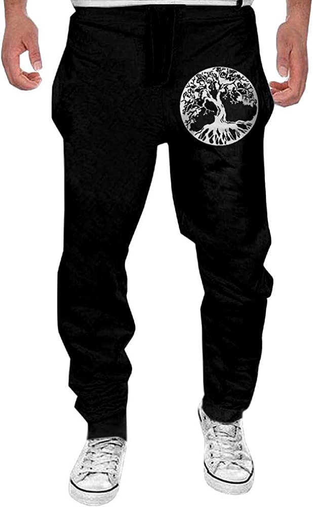 Mens Art Tree of Life Casual Cotton Jogger Sweatpants,Workout Beam Trousers