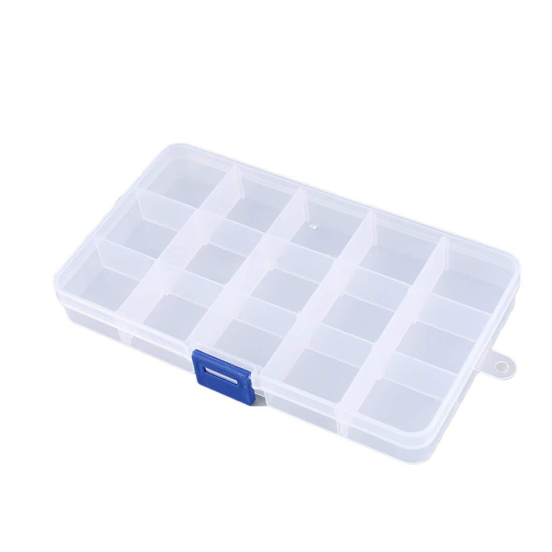 Transparent 15 Slots Cells Portable Bo/îte /à Outils Pi/èces /Électroniques Vis Perles Anneau Bijoux Composant Bo/îte En Plastique Bo/îte De Rangement Conteneur Holde