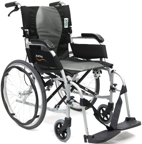 "Karman Ergonomic Wheelchair Ergo Flight with Quick Release Axles in 18"" Seat, Pearl Silver Frame"