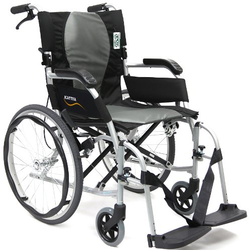 Karman Ergonomic Wheelchair Ergo Flight with Quick Release Axles in 18 inch Seat, Pearl Silver - Axle Portable Heavy Duty