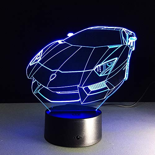Aetd 3D Illusion Night Light Sports Racing Car Table Lamp Rechargeable Led Light RGB Color Touch Acrylic Star Bulbing Lamps Room Lamp